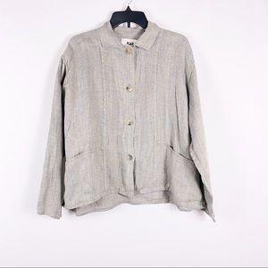 FLAX Linen lagenlook button front Shirt Jacket